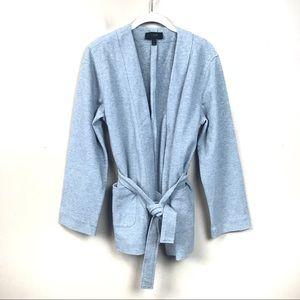 Jcrew gray tie front blazer cardigan sweater large
